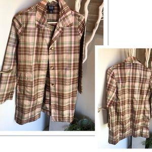Gap plaid raincoat trench coat jacket! Size XS